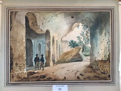 Giacinto Gigante (1806-1876) Deux personnages à l'entrée d'une grotte Aquarelle Signé...