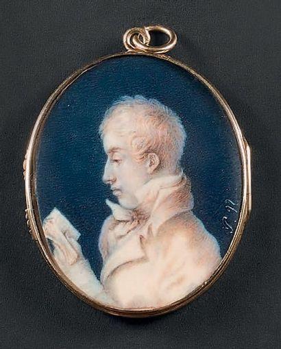 ÉCOLE RUSSE VERS 1800 (P.N.) Double portrait biface en camaïeu de sépia, jeune homme...