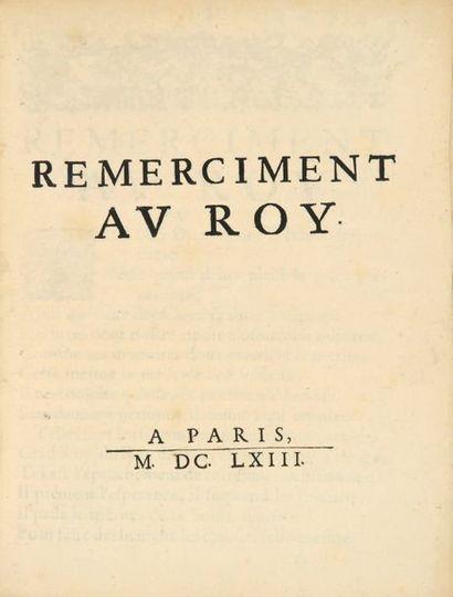 Remerciment [sic] au Roy. Paris, s.n., 1663....
