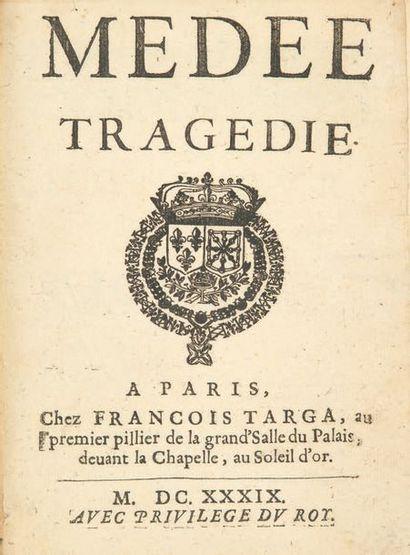 Médée. Tragédie. Paris, François Targa, 1639. In-4, maroquin rouge, janséniste,...