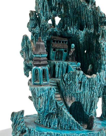 CHINE Époque KANGXI (1662 – 1722) Groupe en porcelaine émaillée bleu turquoise et...