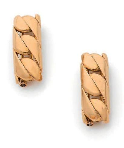 Paire de clips de corsage en or jaune 18K(750)...