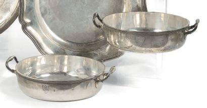 Deux corps de légumier en argent Ier titre de forme ronde et unie ils portent deux...