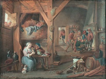 École flamande du XIXe siècle dans le goût de van Ostade Scène d'intérieur Gouache...