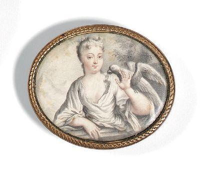 Karl-Gustav KLINGSTEDT 1657-1734 Jeune femme au perroquet dans un paysage Miniature...