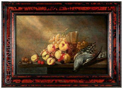 """Harmen ou Herman Van STEENWIJK (1612 - 1656) """"Nature morte au faucon crécelle"""" Huile..."""