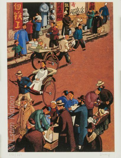 """TRUONG Marcelino (1957) """"Hanoï, Inspection""""  Sérigraphie justifiée 212/250 et signée..."""