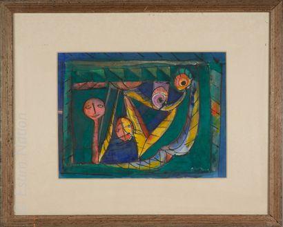 JULIO SILVA Julio SILVA (1930)    Composition aux deux personnages    Gouache sur...