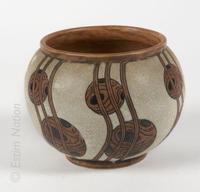 Charles CATTEAUX (1880-1966) Charles CATTEAUX (1880-1966)    Vase boule en grès à...