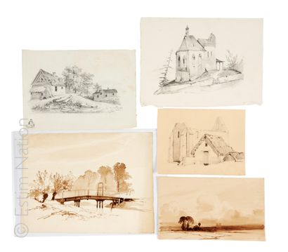 Lot de dessins 19e siècle