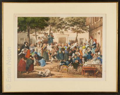 Eugène Devéria D'après Eugène DEVERIA (1808-1865)    Kermesse de village    Eau-forte...