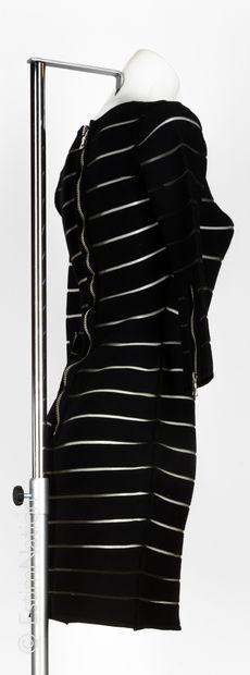 BALMAIN par Olivier Rousteing ROBE près du corps en jersey viscose stretch noir alterné...