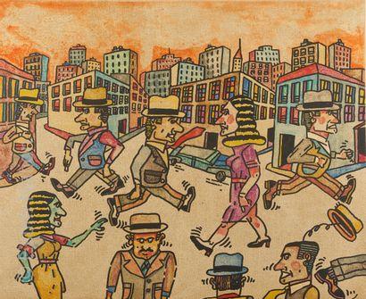 ANTONIO SEGUI - ART CONTEMPORAIN Antonio SEGUI (1934)    L'heure de pointe en ville...
