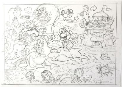 NINTENDO LICENSING / RYPERT, FABIEN (1964) Super MARIO - Grande illustration originale...
