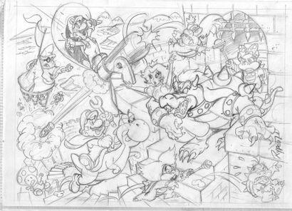 NINTENDO LICENSING / RYPERT, FABIEN (1964) Super Mario- Grande illustration originale...