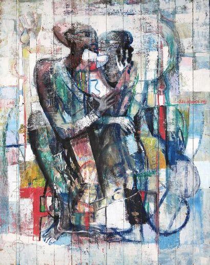 """Omar EL NAGDI (né en 1931) """"Deux personnages"""" Huile sur un ensemble de douze planches..."""