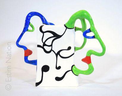 Niki de SAINT-PHALLE (1930-2002) Vase aux deux têtes, 1989  Stratifié polyester vernis,...