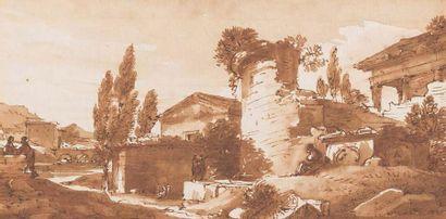 Ecole ROMAINE du XVIIIème siècle, dans le gout de Claude LORRAIN
