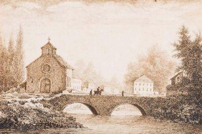 ECOLE FRANCAISE DU XIXème siècle Walkers on a village bridge - Walker on a suspension...