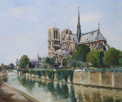 H. Huyard (acitf au XXème siècle) Notre Dame Huile sur toile. Signé en bas à gauche...
