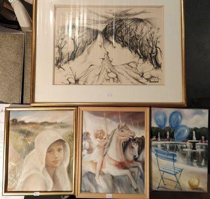 Michel BONNAND (né en 1935) Ballons ciel, Quicenotte, La petite écuyère Trois huiles...