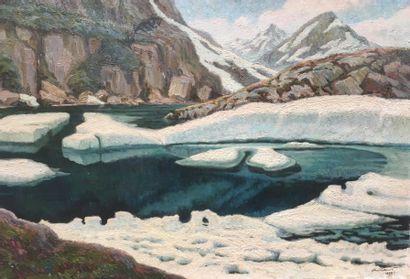 Paul CAUSSE (XXème siècle) Lac de montagne...