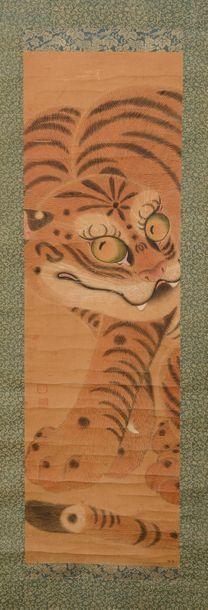 Kakemono à l'encre et couleurs sur soie représentant...