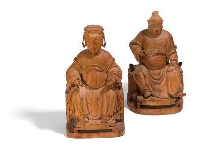 Paire des sculptures en bois anciennement...