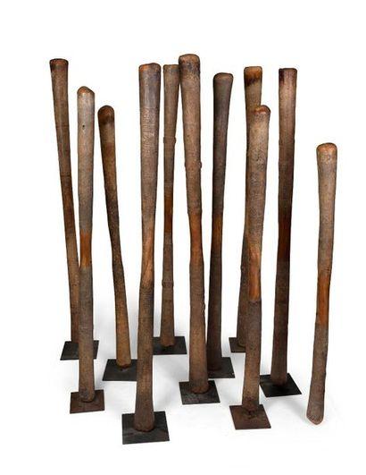 Suite de 11 pilons à mil en bois dur à décor...