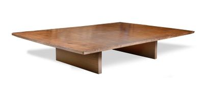 Table basse en bois et placage de bambou...