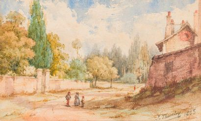 J. THORNLEY (Actif en 1885) Promeneurs près de l'entrée d'un parc  Porteuse de fagots...