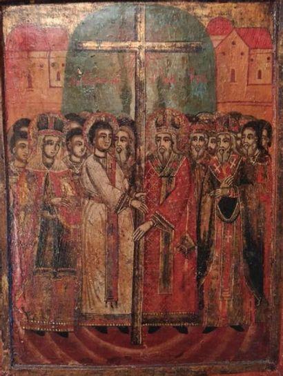 Assemblée de saints entourant la croix.  Icone...
