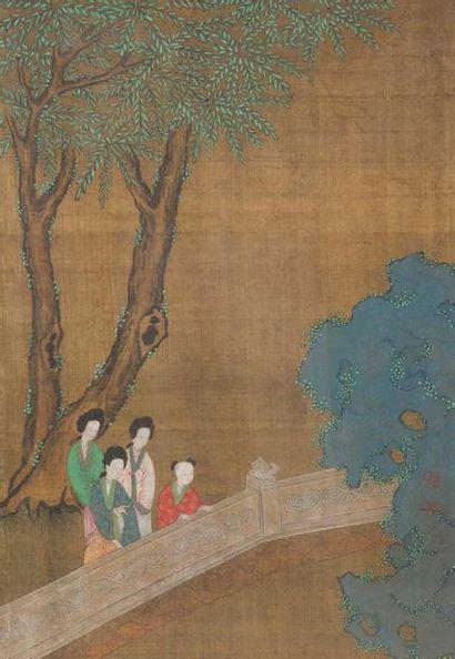 - Suite de six peintures en couleurs sur...