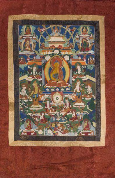 - Thangka en polychromie sur textile représentant...