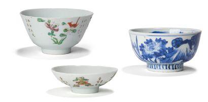 - Bol en porcelaine à décors blanc-bleu de...