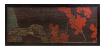 - Grand panneau en bois de paulownia peint...