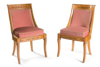 - Paire de chaises à dossiers gondoles en...