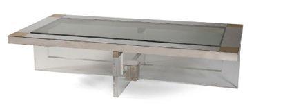 - Table basse en métal et verre, encoignures...