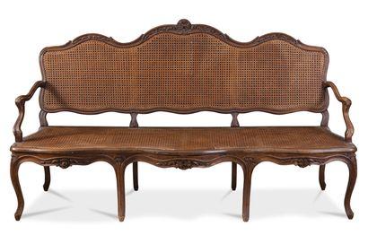 Canapé à triple évolution en bois sculpté,...