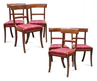 Suite de six chaises en acajou et placage...