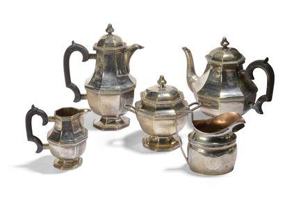 Service à thé-café en métal argenté comprenant...
