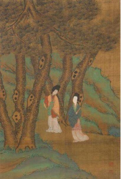 Suite de six peintures en couleurs sur soie...