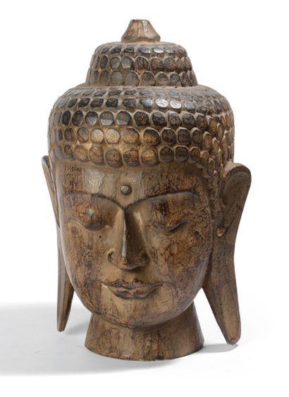 Tête de buddha en bois sculpté et laqué JAPON....
