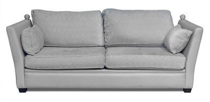 Canapé en cuir deux places. Coussins tapissé...