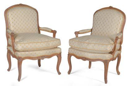 Paire de fauteuils à dossiersplat en bois...