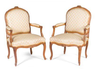 Paire de fauteuils à dossiers platsen bois...