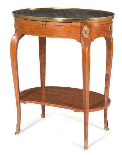 Table de salon ovale en bois de placage,...