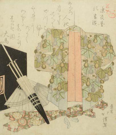 Surimono représentant un kimono auprès d'une...