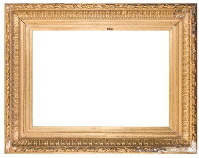 Important cadre en bois et stuc doré à décors...