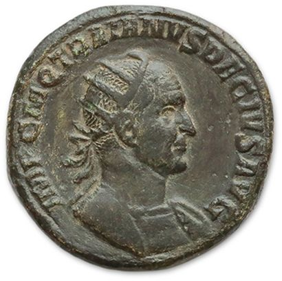 Double sesterce. Rome (250). His bust radiated and cuirassed right. R/ Victory walking...